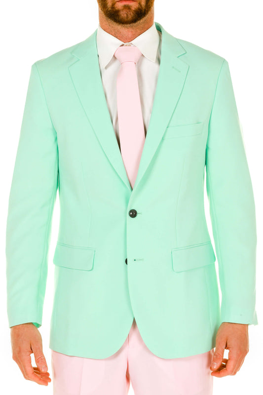 Men's Pink and Mint Green Easter Derby Suit closeup