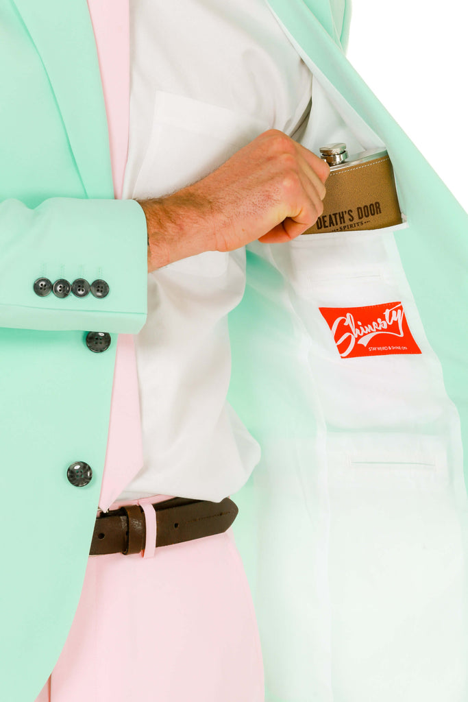 Men's Pink and Mint Green Easter Derby Suit lining detail