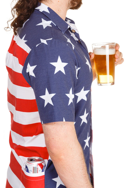 american flag hawaiian shirt with beer pocket