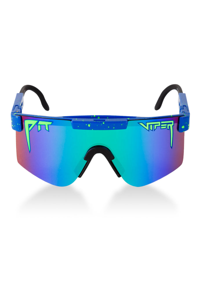 The Leonardo | Blue And Neon Green Polarized Pit Viper Sunglasses