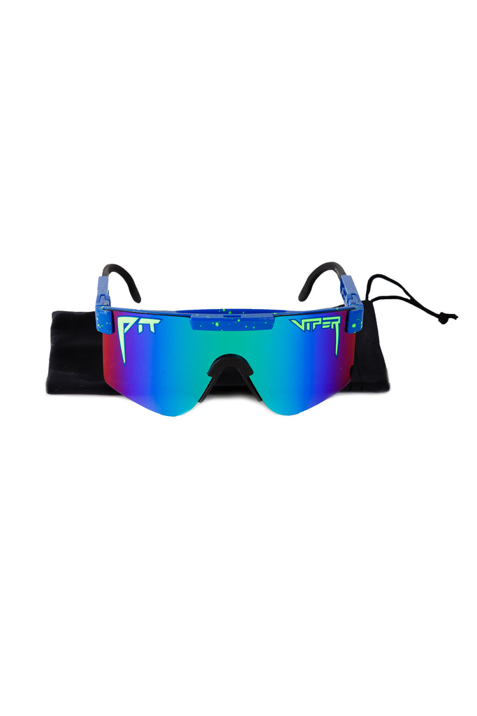 e45871459b Neon Green and Blue Polarized Pit Viper Sunglasses