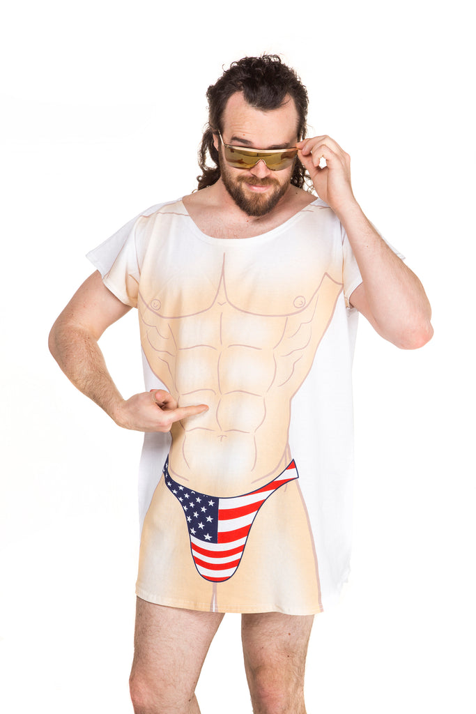 26d7990ae6 Men s American Flag Bikini Body Shirt
