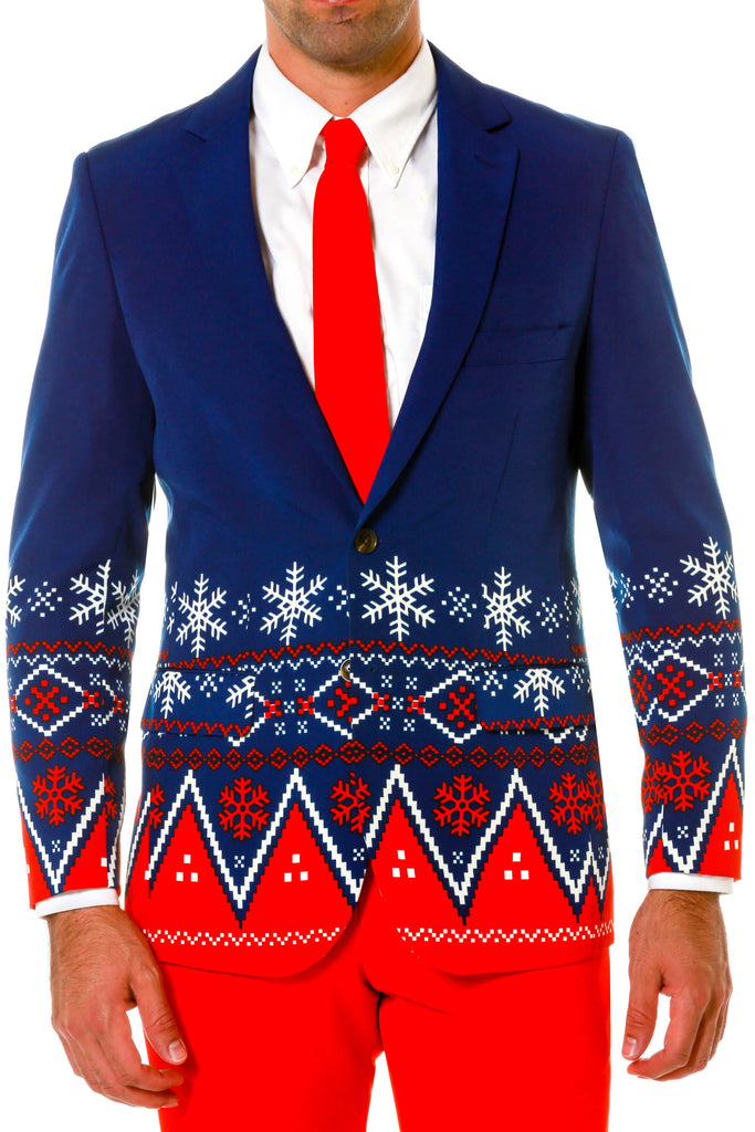 Navy and Red Nordic Patterned Ugly Christmas Sweater Suit Jacket Close-up