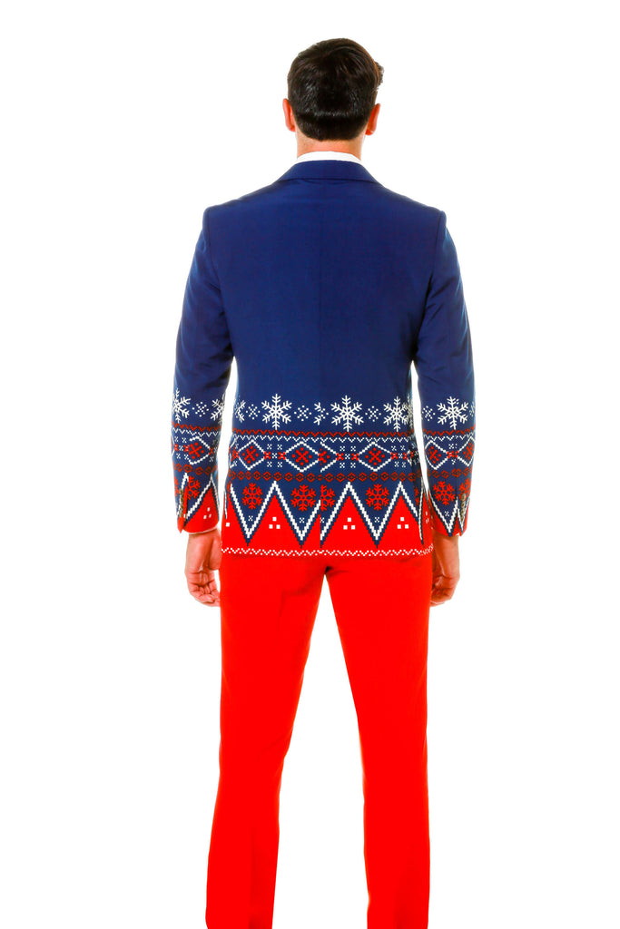 Nordic Pattern Ugly Christmas Sweater Suit In Navy Blue And Red