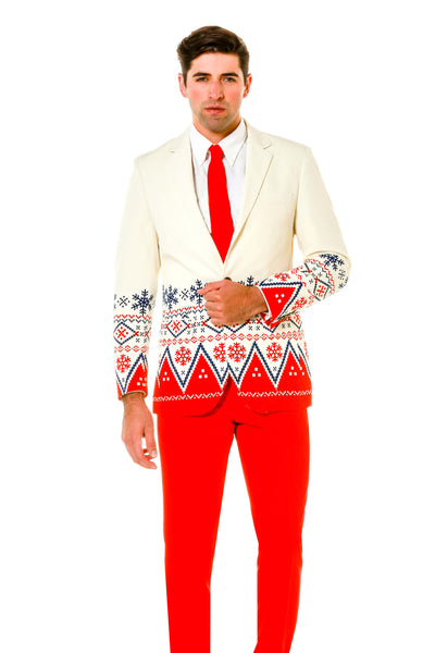 White Fair Isle Christmas Suit With Red Dress Pants