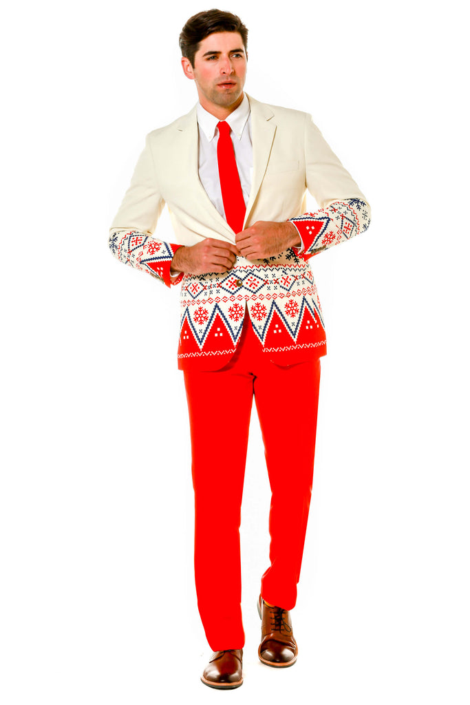 Christmas Fair Isle White Ugly Sweater Party Suit