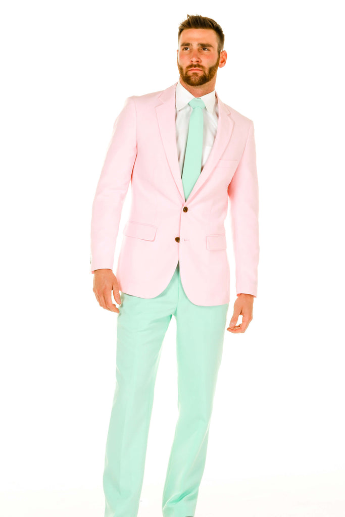 The Magent-leman Men's Pastel Pink and Green Suit