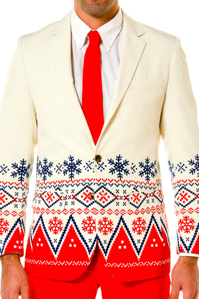Fair Isle White Christmas Sweater Pattern Suit