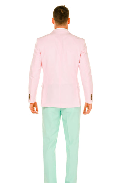 Men's Pink and Mint Green Derby Suit back view