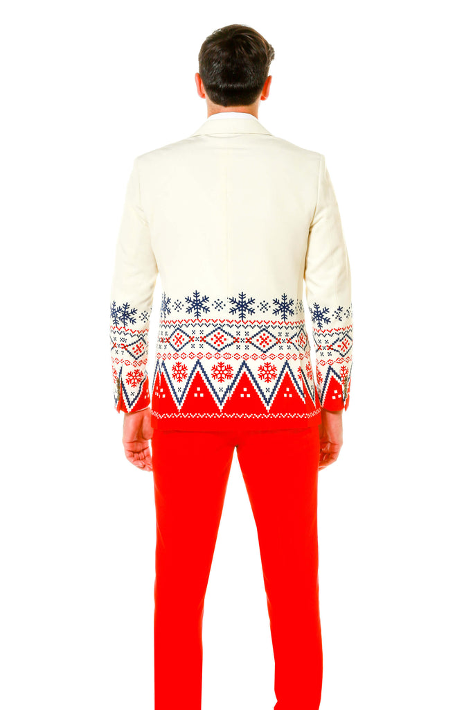 White And Red Christmas Party Suit With Fair Isle Print