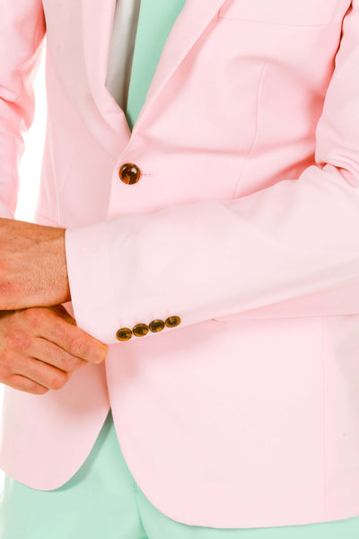 Men's Pink and Mint Green Pastel Suit cuff detail