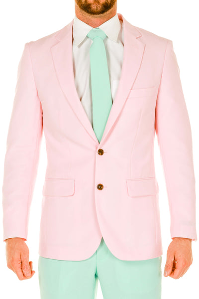 Men's Pink and Mint Green Pastel Suit close up
