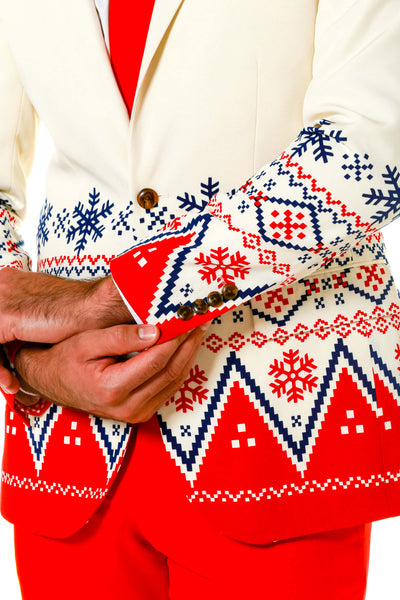 Ugly Christmas Sweater Party Suit With White And Red Sweater Pattern