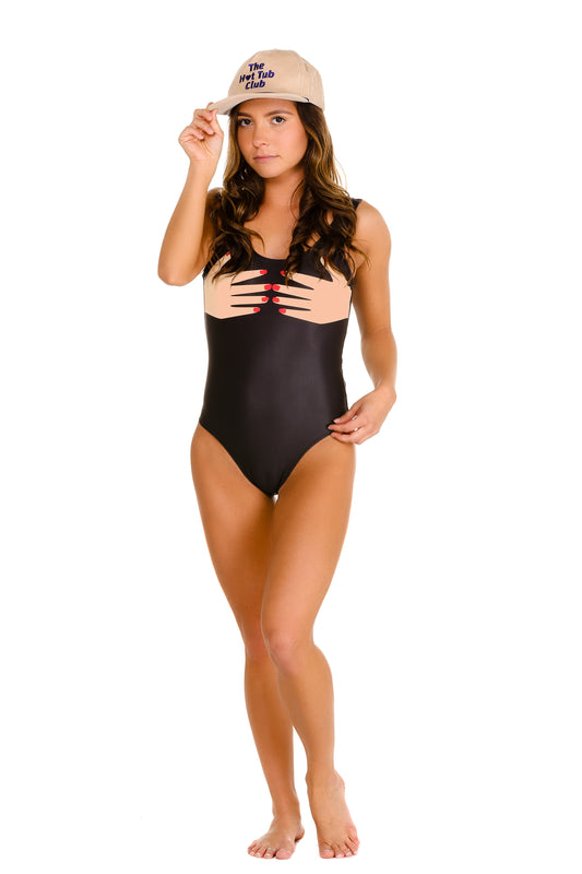 Handsy one piece swimsuit for gals