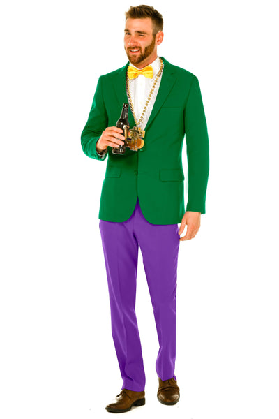 Mens Mardi Gras Green Jacket Yellow Tie Purple Pant Suit by Shinesty