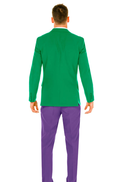 Mens Mardi Gras Green Jacket Yellow Tie Purple Pant Suit Back view