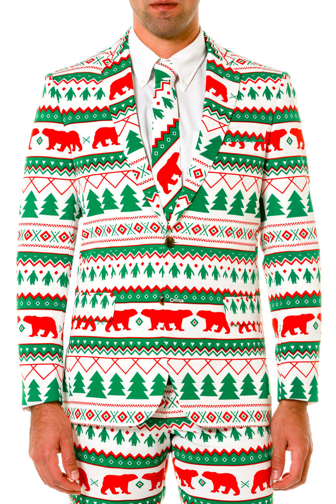Green And White Fair Isle Christmas Suit  9068c2744