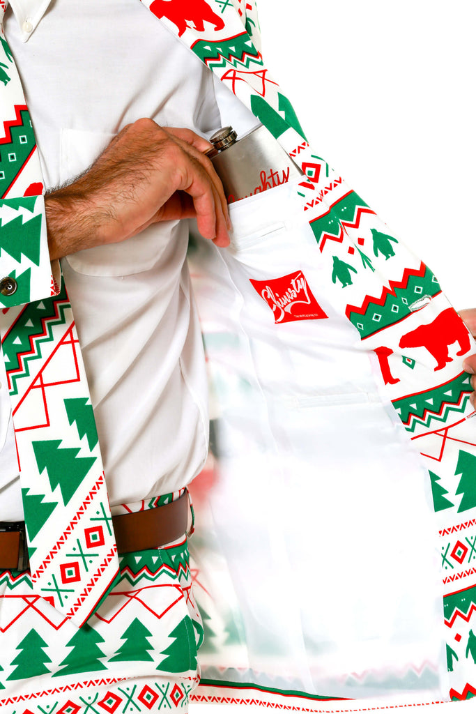 Green And White Fair Isle Men's Christmas Suit | Polar Bear Bandito