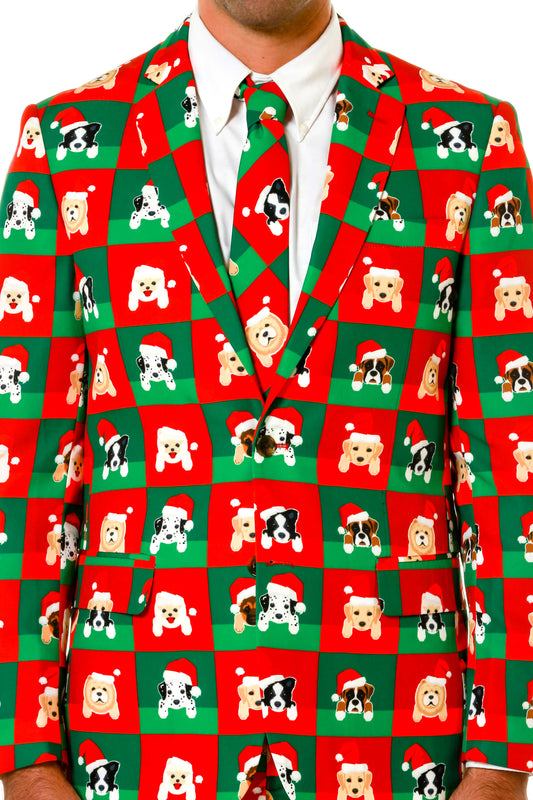 Men's Doggie Print Ugly Christmas Suit Design by Shinesty