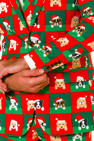 Dog Print Ugly Christmas Sweater Suit Cuffs and Details