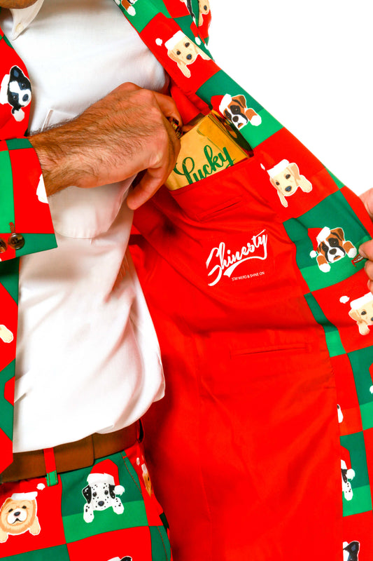 Ugly Christmas Sweater Suit Puppy Print Interior Details