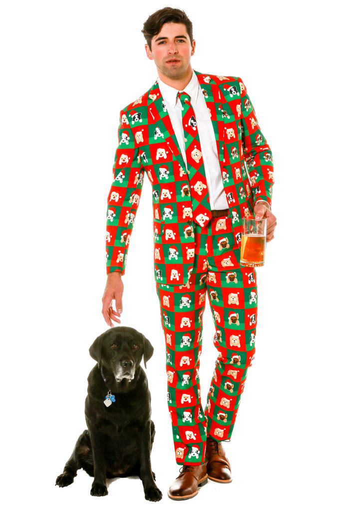 Ugly Christmas Sweater Suit With Dogs Pattern On It