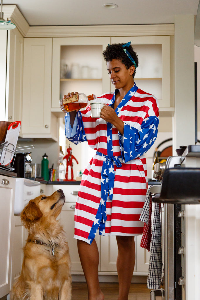 The Afternoon Delight | American Flag Unisex Party Kimono For Women