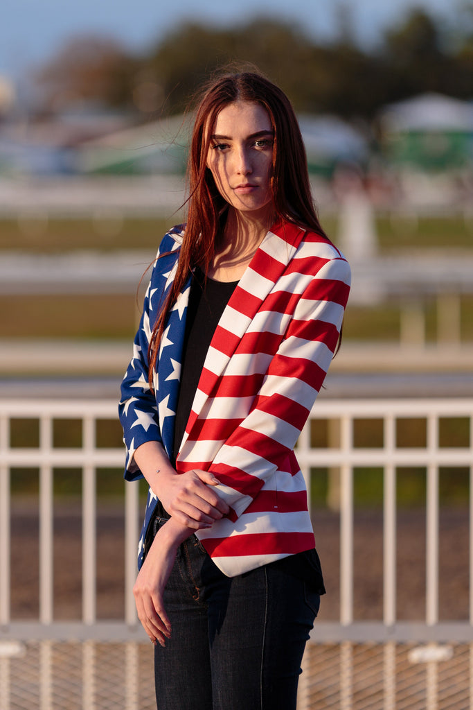 Woman On Beach Wearing The American Flag Martha J Suit Jacket