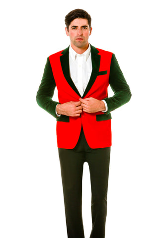 Green And Red Velvet Blazer Men's