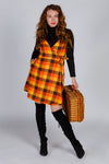 The Donna | 70's Orange Plaid Strappy Dress