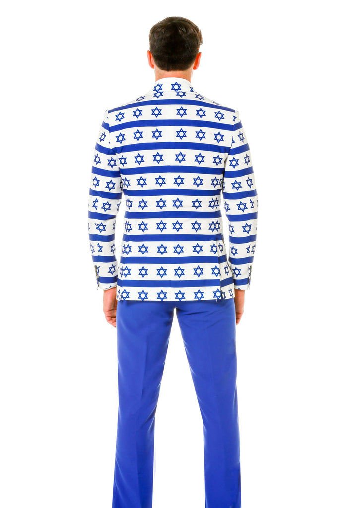 Back of Blue Star Of David Hanukkah Suit