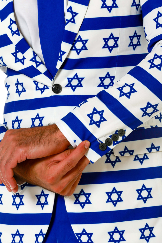 Blue and White Jewish Hanukkah Suit Cuffs and Details