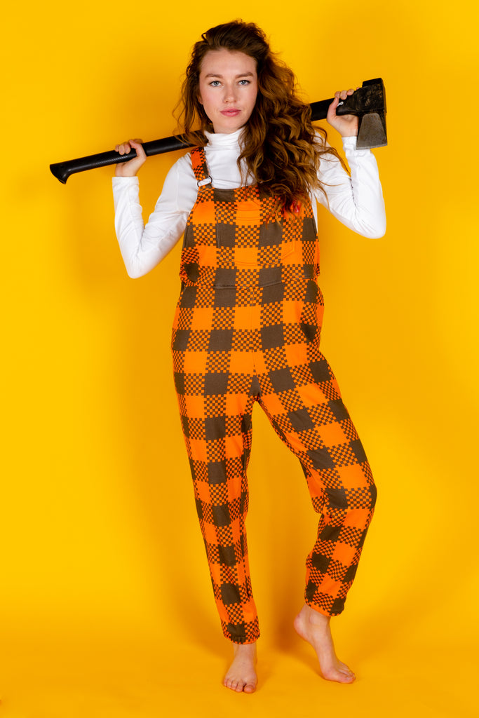 The Mother Truckers | Ladies Unisex Orange Check Pajamaralls