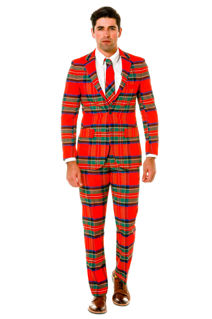 Green and Red Plaid Ugly Sweater Party Suit Pose