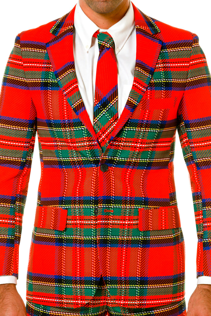 Green and Red Plaid Ugly Sweater Party Suit