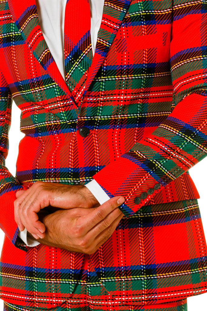 Red Plaid Christmas Suit With Green Trim For Men