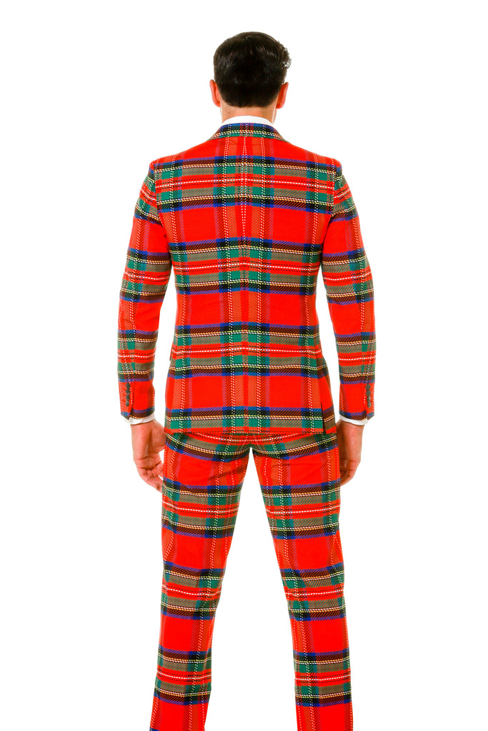 Back of Green and Red Plaid Ugly Sweater Party Suit