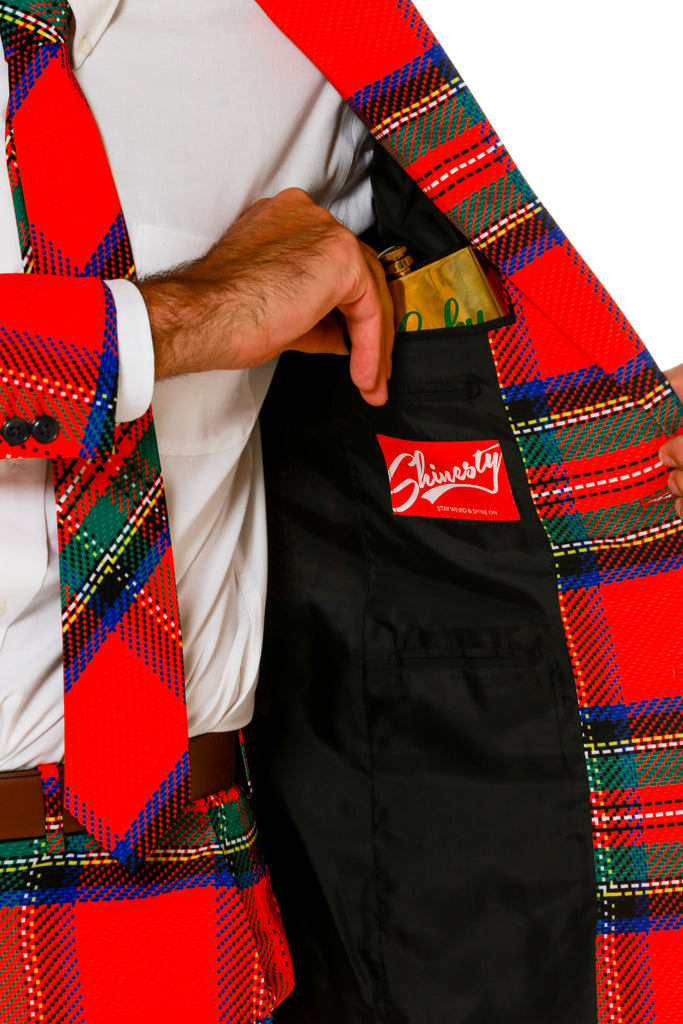 Green and Red Plaid Ugly Sweater Party Suit Interior Details