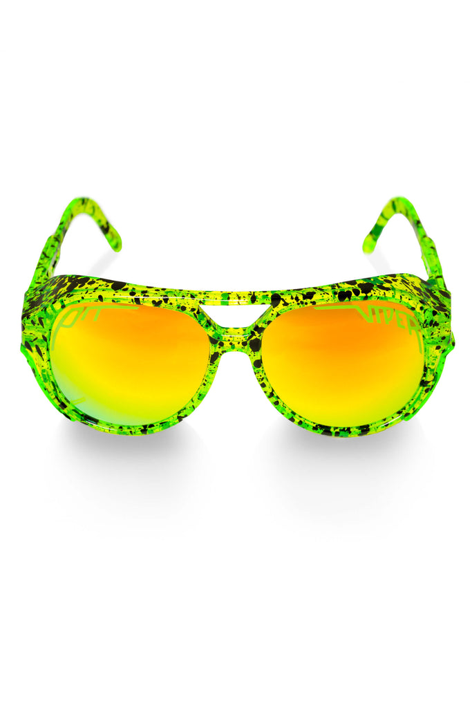 The Tijuana Exciters Neon Green Pit Viper Glacier Sunglasses