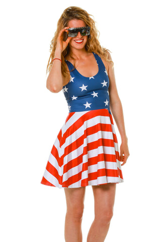 I Want a Hot Dog Real Bad American Flag Dress