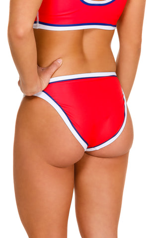 Red high waist bikini bottom
