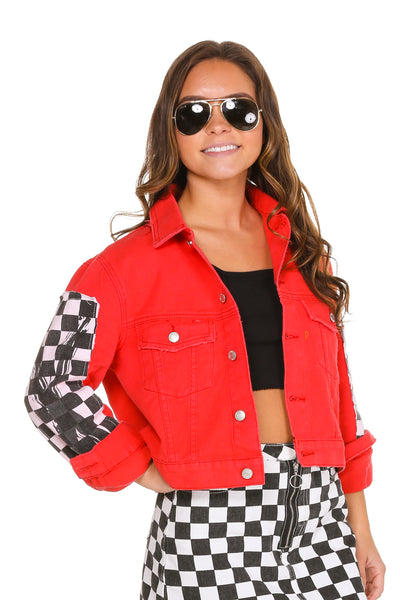 Women's red racing skirt and jacket