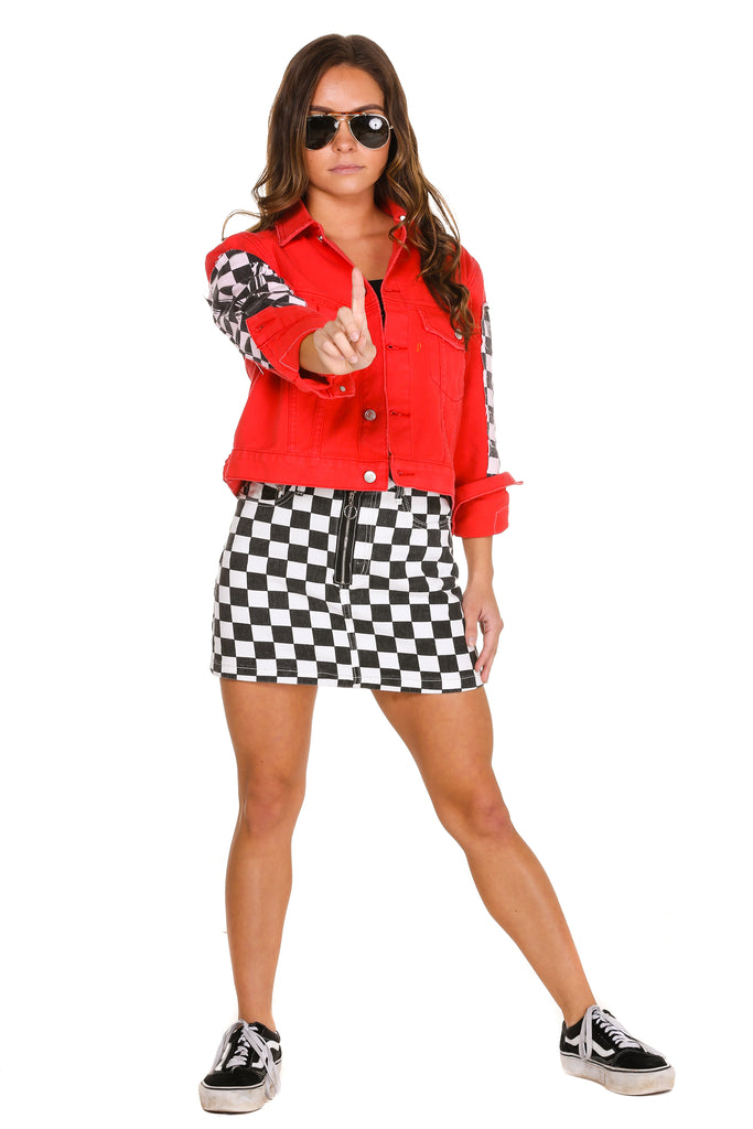 The Finisher Women's Checkerboard Red Denim Jacket and Skirt