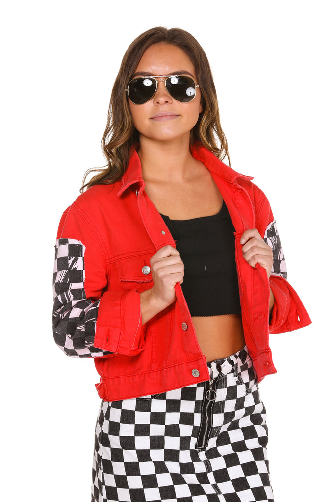 Women S Checkerboard Red Denim Jacket And Skirt The Finisher