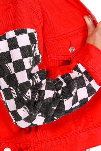 Red checkerboard jacket