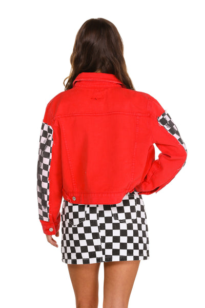 Women's red checkerboard jacket