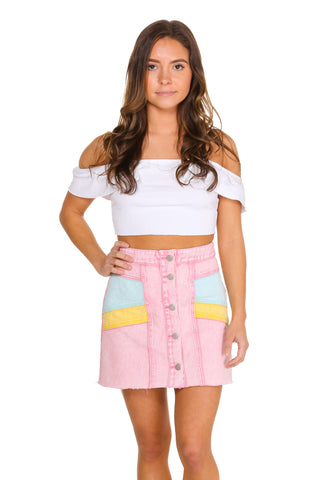 Women's pink denim skirt