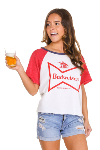 Ladies Budweiser short sleeve sweatshirt