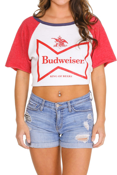 Red and white budweiser short sleeve sweatshirt for women