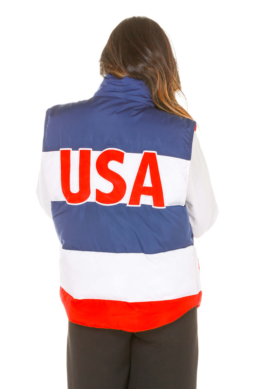 Ladies red white and blue vest